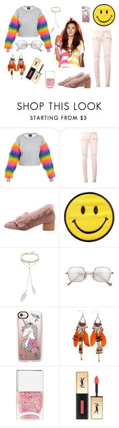 """""""It's me, if you don't like it it's your problem, not mine...I can live without you"""" by lujzazsu ❤ liked on Polyvore featuring Balmain, Bølo, Casetify, Nails Inc., Yves Saint Laurent, boho, 2NE1, darapark and parkdara"""