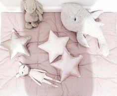 Printed dusty pink futon and mini iridescent star cushions by Numero74 #numero74 #girlroom #girlroomdecor