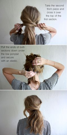 hair tutorial: messy crossover pony (truelane) I always like. Loubna Ait Hair hair tutorial: messy crossover pony (truelane) I always like the idea of wearing my hair up, but I hate feeling like w Hair Day, Mom Hair, Hair Kids, Hair Looks, Hair Lengths, Hair Inspiration, Curly Hair Styles, Long Hair Ponytail Styles, Ponytail Ideas