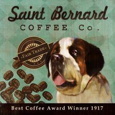 Retro Saint Bernard art print by Etsy artist: LegacyHouseArt