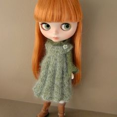 Pleated Knitted Pinafore and Sweater for Blythe by myfairdolly, $28.00