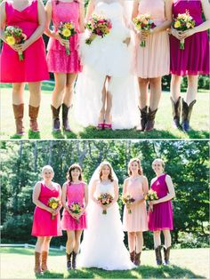 bridesmaids in shades of pink http://www.weddingchicks.com/2013/10/22/colorful-cape-cod-wedding/