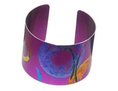 Anodized aluminum cuff. Carlotta......Connie Fox: Saturated colors seem to marry geometric shapes so well.