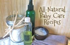 All natural homemade baby skin care recipes: diaper rash cream, baby oil, baby powder, baby wipes, lotion, shampoo/wash, and natural teething/pain relief.