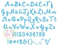 """I2S Smoothie Shoppe Embroidery Font in sizes 1"""", 1.5"""", 2"""" and 2.5"""""""