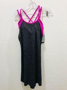 ef2f25688049ad  79 NEW Athleta Hidden Agenda XS Black Pink Running Yoga Tank Top Bra  Support