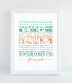 Psalm 23 Bible Verse by ThePaperMountainCo