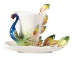 Claybox Hand Crafted Porcelain Enamel Graceful Peacock Tea Coffee Cup Set with Saucer and Spoon, Green by Claybox Ltd., http://www.amazon.com/dp/B00BTQYFZU/ref=cm_sw_r_pi_dp_1I9Jrb0TV8VWS