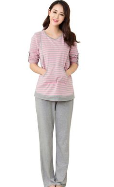 d580536044 Women s Cotton Nursing Pajamas 2 Pcs Maternity Breastfeeding Pajamas pjs  Sets XL  fashion