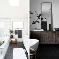 Bathroom planning  whats your pick?  left or right?  Left by Jeff Mindell Right by Lotta Agaton  #thebeachfurniture #bathroom #bathroomdesign #bathroomrenovation #renovating #ideas #pinterest #pinstagram #ensuite #design #interiors #interiordesign