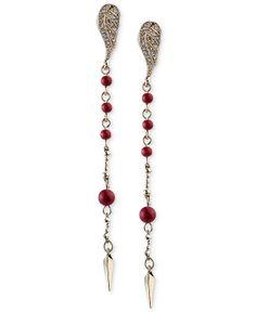 RACHEL Rachel Roy Gold-Tone Red Bead and Crystal Wing Linear Drop Earrings - Fashion Earrings - Jewelry & Watches - Macy's