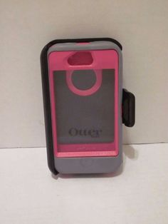 Otterbox Defender iPhone 4/4S Phone Hard Case Pink Gray w/ Holster Clip #OtterBox