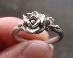 White Gold Magnolia Ring Sample SALE Sizes 6.75 to by jennykim