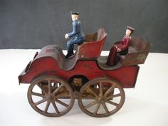 Late 1800s Iron Tin Wood Antique Vintage Toy Carriage with Cast Iron Figures   eBay