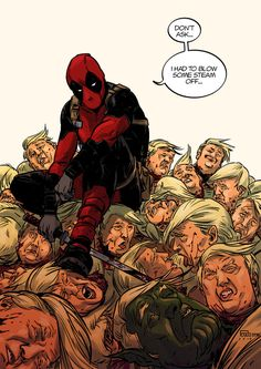 #Deadpool #Fan #Art. (Deadpool vs Trump colors) By: Bottompunk. ÅWESOMENESS!!!™ ÅÅÅ+(I HAD NO IDEA THERE WE'RE SO MANY?) :-)_~~~