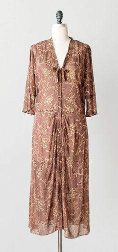 vintage 1970s brown floral 30s inspired dress   Chelsea Market Dress #vintage #70sdress #vintagedress