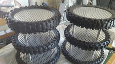Recycled some used dirt bike tires to make these tiered cake stands