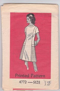 70s Mod Miss A-line Dress Side Pleated Skirt Size 12 Bust 34 Sewing Pattern Mail Order 4772 Complete Uncut
