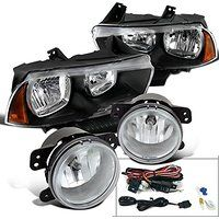 Cheap Dodge Charger Euro Black Clear Amber Corner Headlights Clear Fog Lamps…