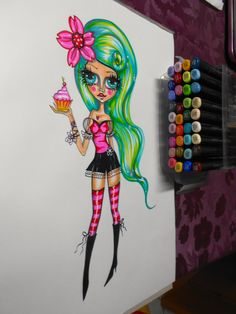I love my Copics!!   Cup cake pin up...