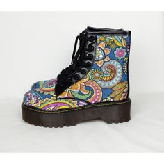 Psychedelic Shoes Boho Shoes Hippy Boots Paisley Print Funky Boots Psy... ($55) ❤ liked on Polyvore featuring shoes, grey, women's shoes, hippie shoes, gothic shoes, gray high heel shoes, high heeled footwear and gray wedge shoes