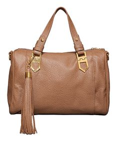 Take a look at the Elise Hope Tan Tassel DaBombe Satchel on #zulily today!