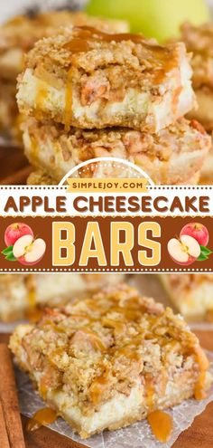 The perfect apple recipe for fall baking! This sweet treat is sure to become a favorite. From the buttery crust to the best crumble topping, these easy Apple Cheesecake Bars served with caramel sauce are a delicious Thanksgiving dessert! Apple Desserts, Apple Recipes, Fall Recipes, Caramel Apple Cheesecake Bars, Baked Cheesecake Recipe, Crumble Topping, Fall Baking, Caramel Apples, A Food