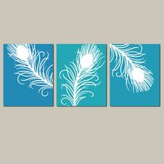 Modern Peacock Feather Trio - Set of Three 8 x 10 Coordinating Prints - in Peacock Blue, Turquoise, and Aqua  I love this idea to add a splash of colour to a neutral room...*pretends to be a designer*