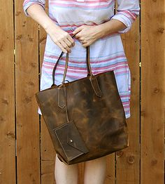 Leah Tall Leather Tote Bag by Bubo Handmade on Scoutmob