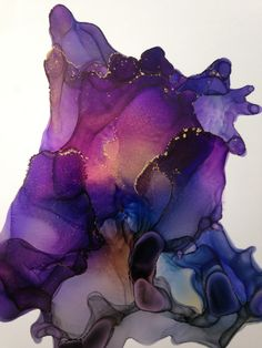 Purple Splash abstract alcohol ink painting by Linda Crocco #lindacroccostudio #artistoninstagram #abstract