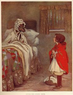 Red Riding Hood  Early 20th Century  I don't know the artist , but this looks similar to the Margaret Tarrant
