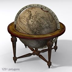 3D Model of Antique Globe Table 01