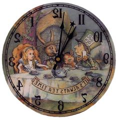 Alice in Wonderland Tea Party Backwards clock by thewhiterabbitcom Alice In Wonderland Clocks, Alice In Wonderland Tea Party, Adventures In Wonderland, Lewis Carroll, Pintura Country, Arte Disney, Mad Hatter Tea, Through The Looking Glass, Book Worms