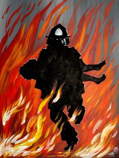 Learn how to paint a Fireman carrying a Child while running through Flames in Acrylic Paint on Canvas. This is a easy and Simple painting of Fire with a No Draw option. WE will talk about beginner a Simple Canvas Paintings, Easy Canvas Painting, Easy Paintings, Canvas Art, Painting Pictures, Fire Painting, Painting & Drawing, Firefighter Drawing, The Art Sherpa