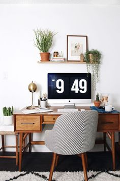 Home Office - retro, warm wood, plants, simple, love this