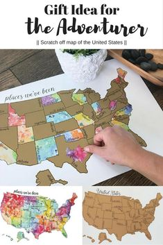 The scratch off map of the United States is the perfect gift idea for the adventurer in your life! #ad #affiliate #giftidea #christmas #holiday #giftexchange #adventurer #scratchoff #scratchoffmap #unitedstates #map #watercolor #esty #handmade