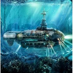 Image Steampunk Underwater world Submarines Twenty Thousand Leagues Steampunk Airship, Dieselpunk, Steampunk Cosplay, Gothic Steampunk, Jules Verne, Industrial Showers, National Day Calendar, National Pet Day, Workers Day