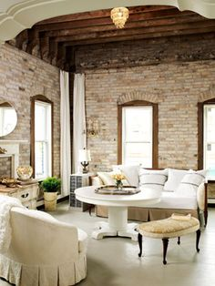 brick wall with rustic ceiling