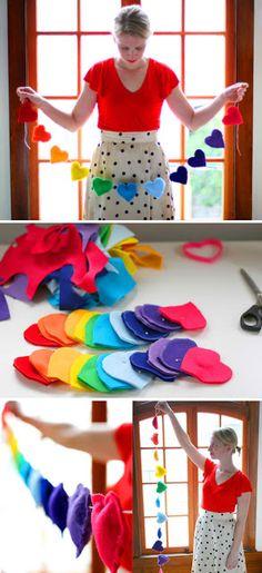 heart diy rainbow banner.. bunting banner diy, diy rainbow, craft, felt hearts, valentine day, diy bunting banner, heart diy, garland, rainbow banner