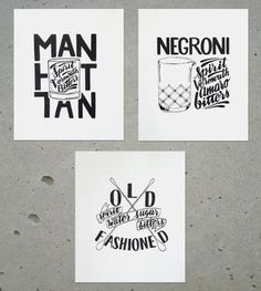 Set of 3 Cocktail Prints - Negroni, Old-Fashioned & Manhattan  Need these!