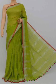 Green Color Handwoven Textured Traditional Saree (With Blouse)zari border - Cotton Saree Designs, Saree Blouse Designs, Fashion Vocabulary, Saree Shopping, Elegant Saree, Traditional Sarees, Handloom Saree, Half Saree, Curly Short