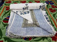 Indian Handmade Kantha Quilt Throw Cotton Bed Cover Jaipuri Indigo Blue Blanket #Handmade #ArtsCraftsMissionStyle