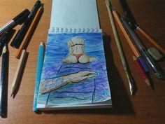 Sleepless night. Watercolor, pens, pencils, marker