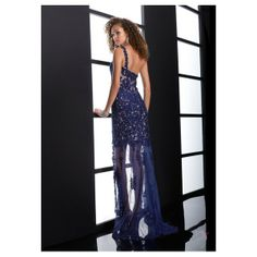 Royal Bule Lace One Shoulder High Low Prom Dress With Beading