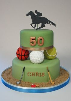 Multi Sports cake - golf, hockey, tennis, basketball, table tennis and horse racing  Cake by krumblies
