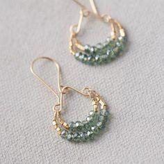 Triple Hoop earrings in Sterling Silver, large silver hoop earrings, hammered hoop earrings, delicate hoops, 2 inch hoop earrings - Fine Jewelry Ideas Mystic Quartz Hoop Earrings Rose Gold Earrings, Crystal Earrings, Women's Earrings, Earrings Online, Diamond Earrings, Gemstone Earrings, Simple Bead Earrings, Wire Jewelry Earrings, Feather Earrings