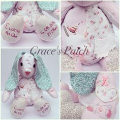 Keepsake Dotty the Rabbit made using baby's first clothes and weighted to her birthweight. She is finished off with hand embroidered birth details on the feet.