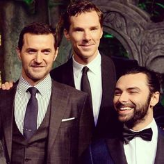 Aidan Turner, Benedict Cumberbatch, and Richard Armitage. That's a lot of awesome for one pic!