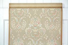 1930's Vintage Wallpaper White and Taupe by HannahsTreasures