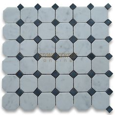Carrara White 2 inch Octagon Mosaic Tile Honed - Marble from Italy - - floor tiles - los angeles - by Stone Center Online Marble Herringbone Tile, Hexagon Mosaic Tile, Honed Marble, Mosaic Bathroom, Bathroom Floor Tiles, Marble Mosaic, Wall And Floor Tiles, Non Slip Bathroom Flooring, Black And White Backsplash